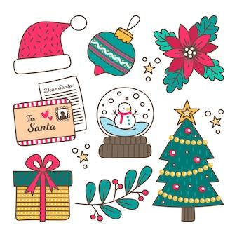 Hand getekend kerst element collectie