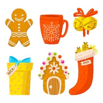 Hand getekend kerst element illustratie pack