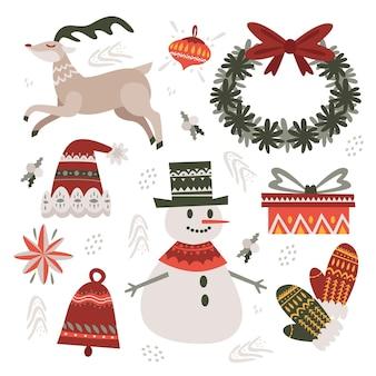 Hand getekend kerst element illustraties pack