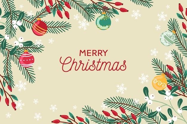 Hand getekend kerst elementen achtergrond