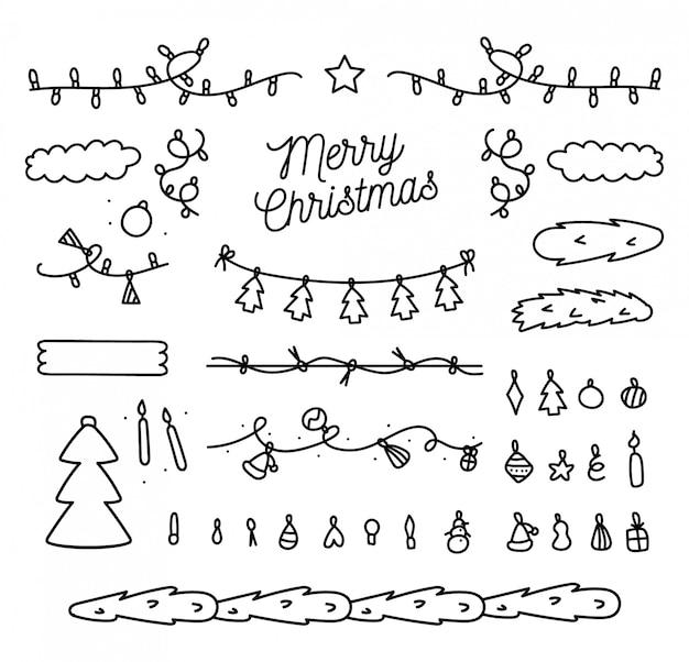 Hand getekend kerst elementen collectie
