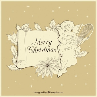Hand getekend kerst engel vintage achtergrond