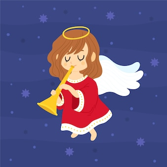 Hand getekend kerst engel