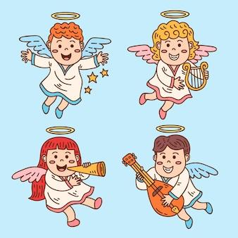 Hand getekend kerst engelen