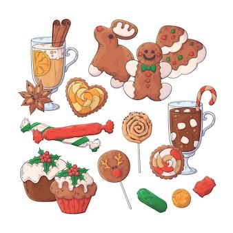 Hand getekend kerst eten collectie.
