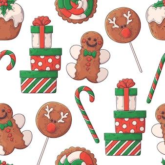 Hand getekend kerst eten patroon.