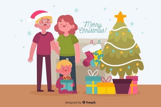 Hand getekend kerst familie achtergrond