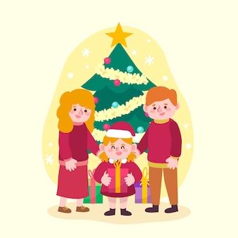 Hand getekend kerst familie illustratie