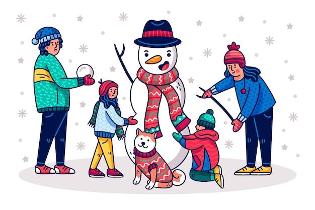 Hand getekend kerst familie scène