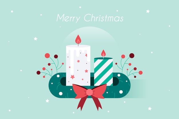 Hand getekend kerst kaars achtergrond