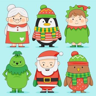 Hand getekend kerst karakter collectie