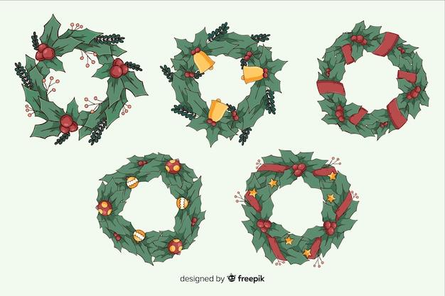 Hand getekend kerst krans collectie