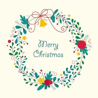 Hand getekend kerst krans illustratie