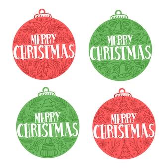 Hand getekend kerst label collectie