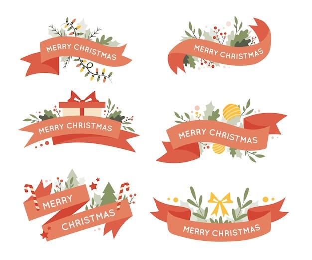 Hand getekend kerst lint collectie
