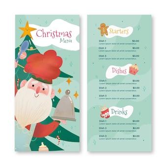 Hand getekend kerst menusjabloon