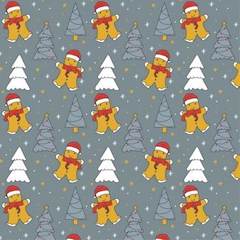 Hand getekend kerst naadloos patroon