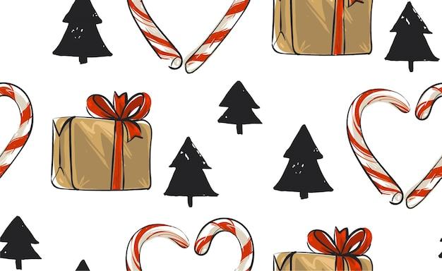 Hand getekend kerst naadloze patroon met kerstbomen