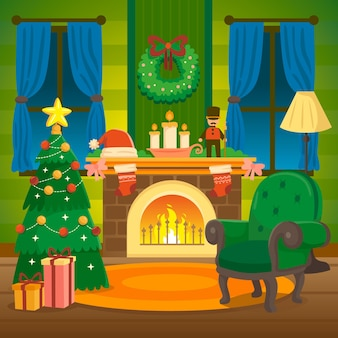 Hand getekend kerst open haard scène