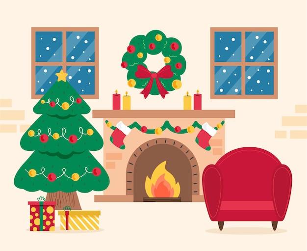 Hand getekend kerst open haard scène Premium Vector