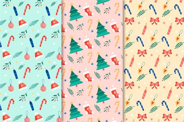Hand getekend kerst patroon collectie
