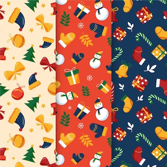 Hand getekend kerst patroon pack