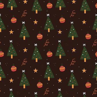 Hand getekend kerst patroon voor inpakpapier