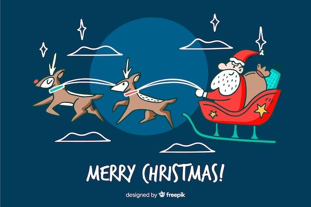 Hand getekend kerst santa claus achtergrond