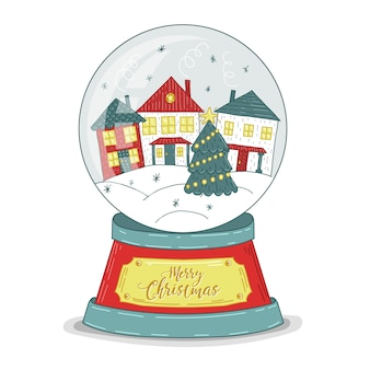 Hand getekend kerst sneeuwbal globe achtergrond