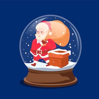 Hand getekend kerst sneeuwbal globe behang