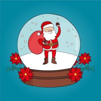 Hand getekend kerst sneeuwbal globe