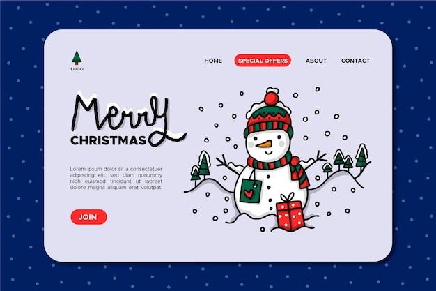 Hand getekend kerst sneeuwpop bestemmingspagina