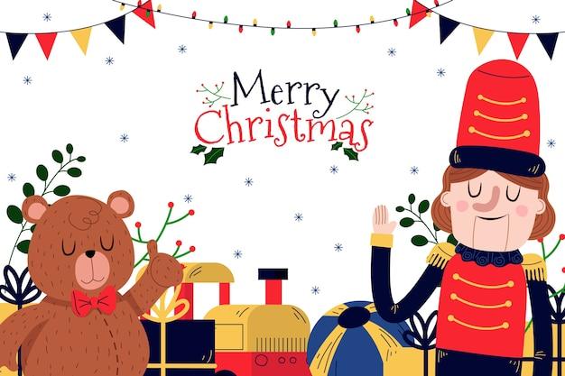 Hand getekend kerst speelgoed achtergrond