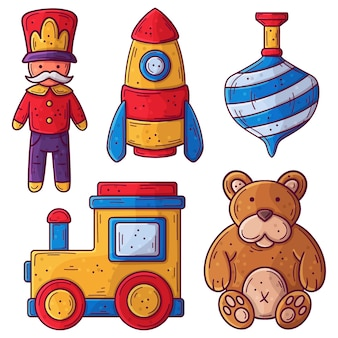 Hand getekend kerst speelgoed collectie