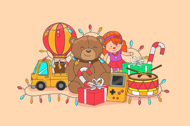 Hand getekend kerst speelgoed illustratie