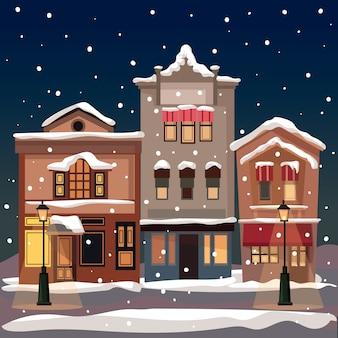 Hand getekend kerst stad achtergrond