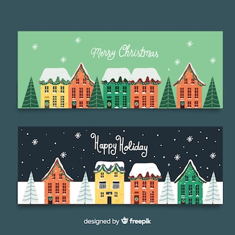 Hand getekend kerst stad banners sjabloon
