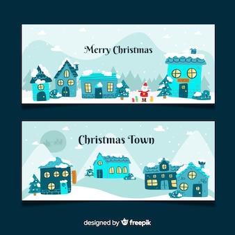 Hand getekend kerst stad banners