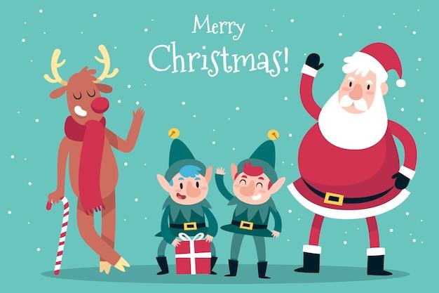 Hand getekend kerst tekenset