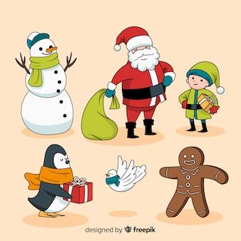 Hand getekend kerst tekensverzameling