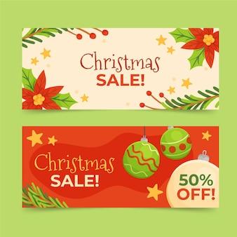 Hand getekend kerst verkoop banners sjabloon