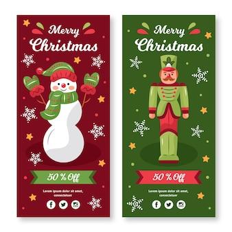 Hand getekend kerst verkoop banners