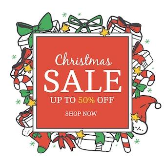 Hand getekend kerst verkoop concept