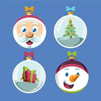 Hand getekend kerstbal ornamenten collectie