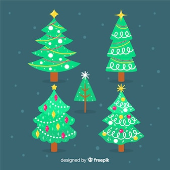 Hand getekend kerstboom collectie