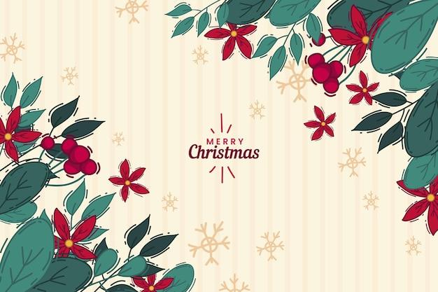 Hand getekend kerstboom takken achtergrond