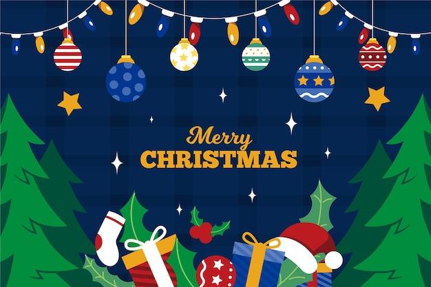 Hand getekend kerstcadeaus achtergrond