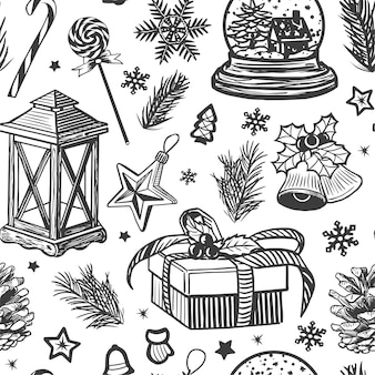 Hand getekend kerstdecoratie collectie