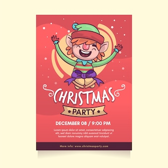 Hand getekend kerstfeest poster sjabloon