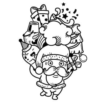 Hand getekend kerstman gelukkig nieuwjaar en vrolijk kerstfeest. illustratie